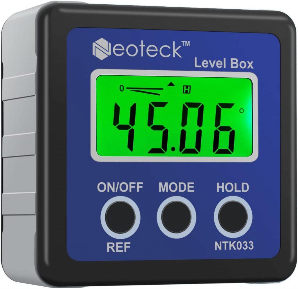 Bevel Box Digitale LCD-gradenboog, hellingsmeter, inclinometer, waterdicht, hoekmeter, waterpas, blauw
